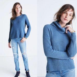 Madewell blue convertible turtleneck sweater f7260